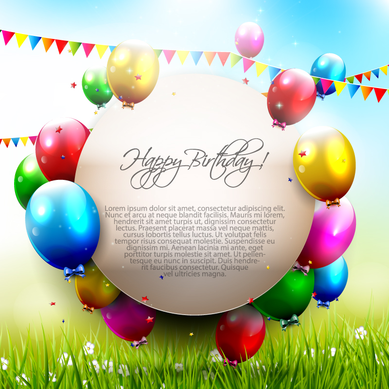 Circle Happy Birthday Color Balloon Vector