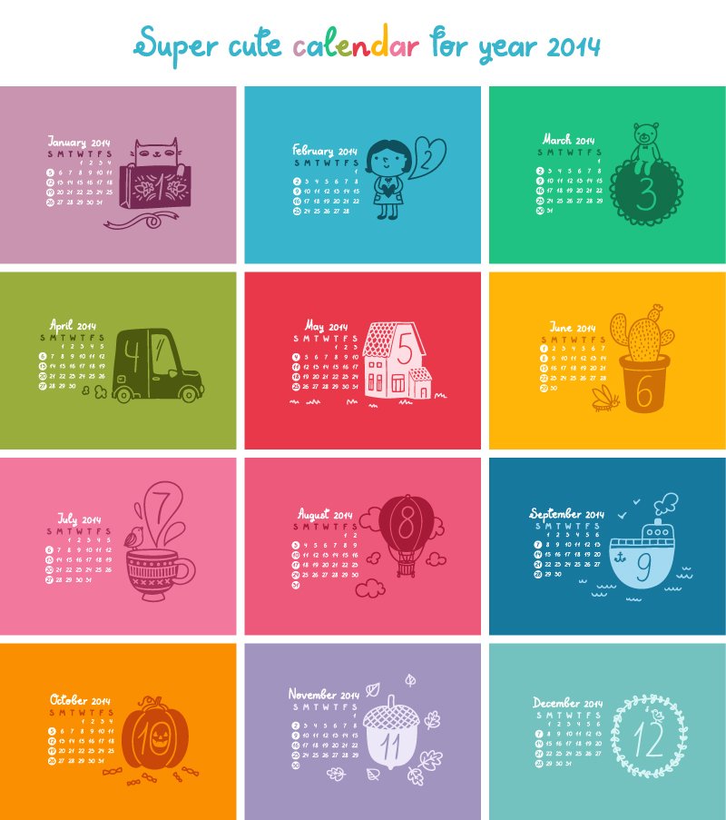 Cute Calendar 2014 Color Plaid Vector