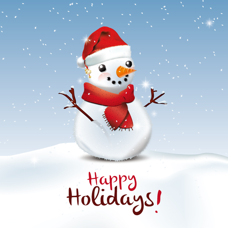 Cute Christmas Snowman Poster Vector