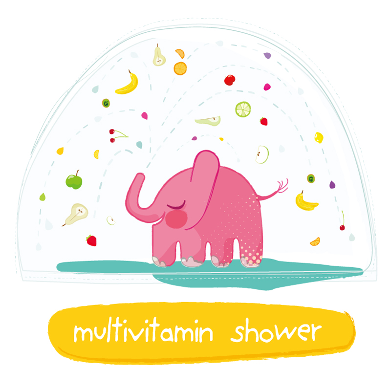 Elephant Multivitamin Shower Vector