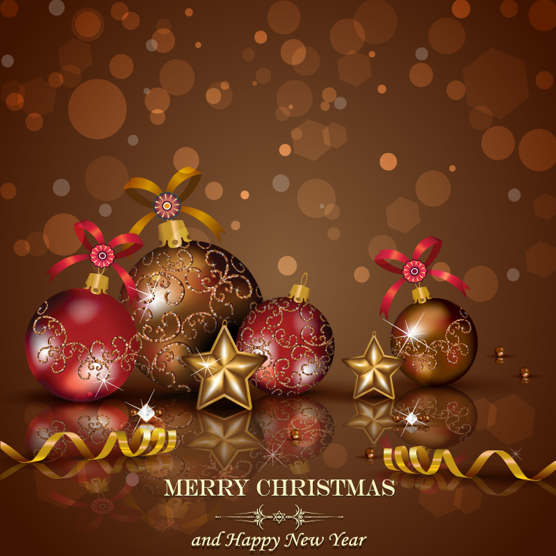 Flash Stars Xmas Balls Vector