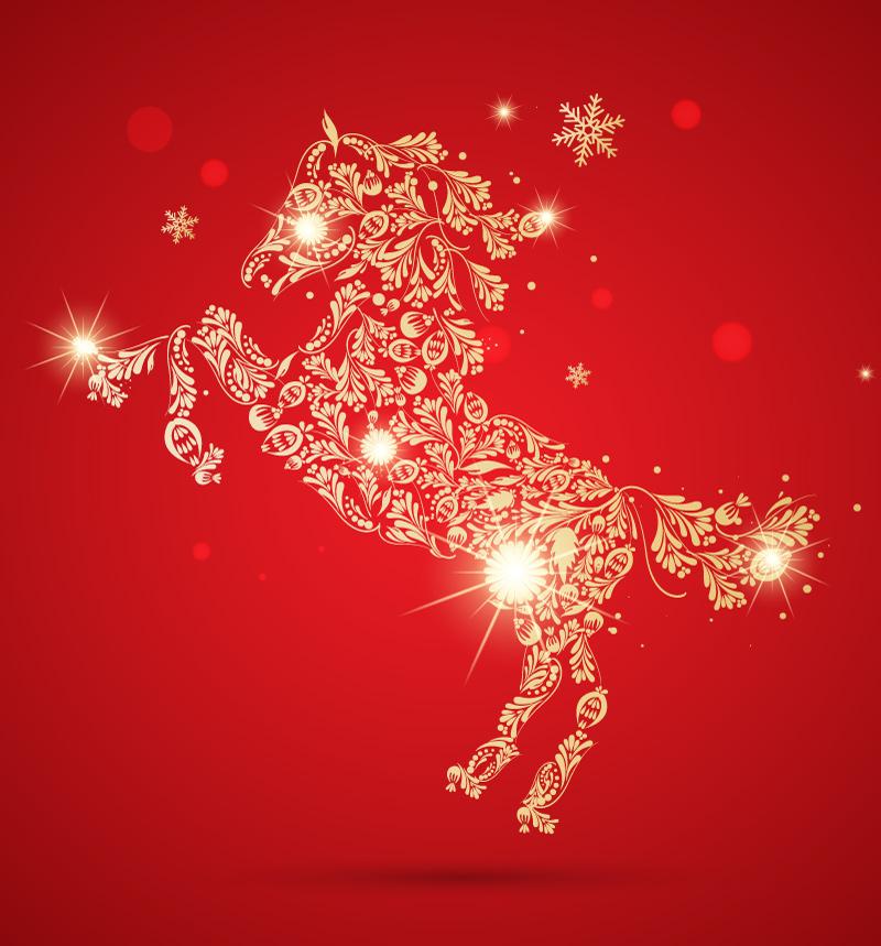 Golden-Pattern-Horse-Vector