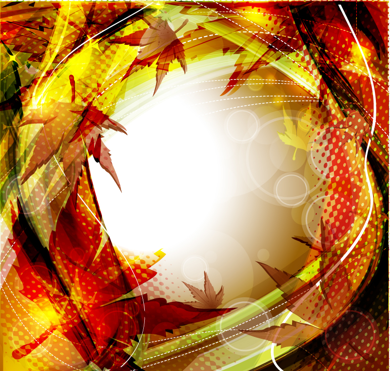 Halo Autumn Leaves Background Vector
