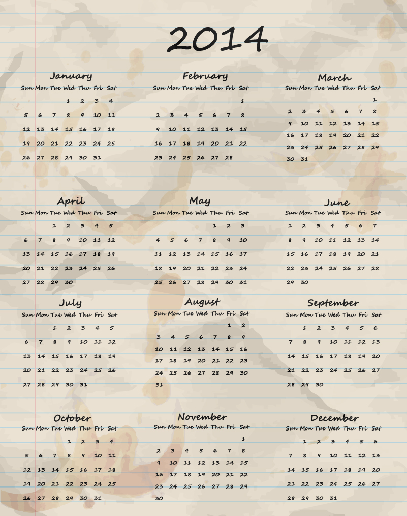 Hand Drawn Calendar 2014 Vector