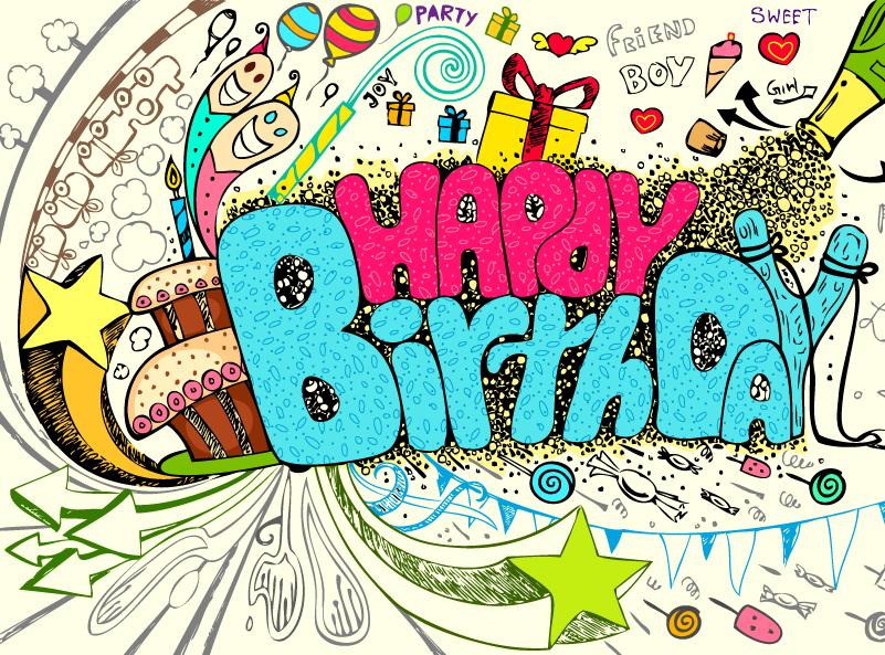 Happy Birthday Color Party Vector