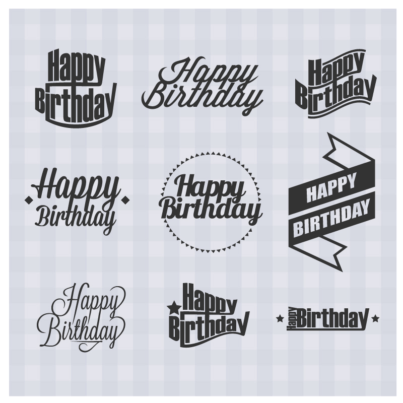 Happy Birthday Simple Stickers Vector