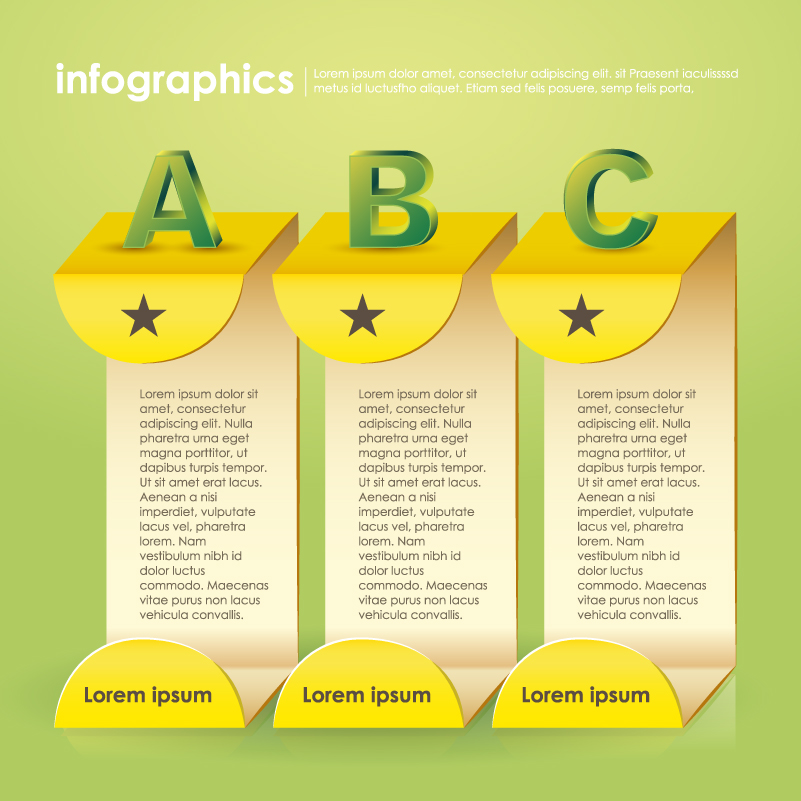 Infographic ABC Origami Vector