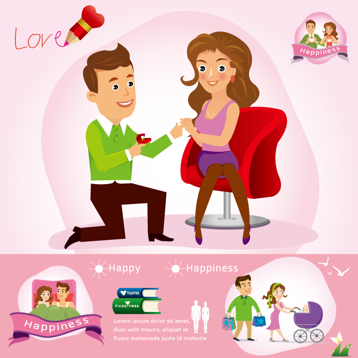 Infographics Cartoon Couple Vector