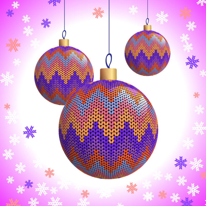 Knitting Pattern Christmas Ball Vector