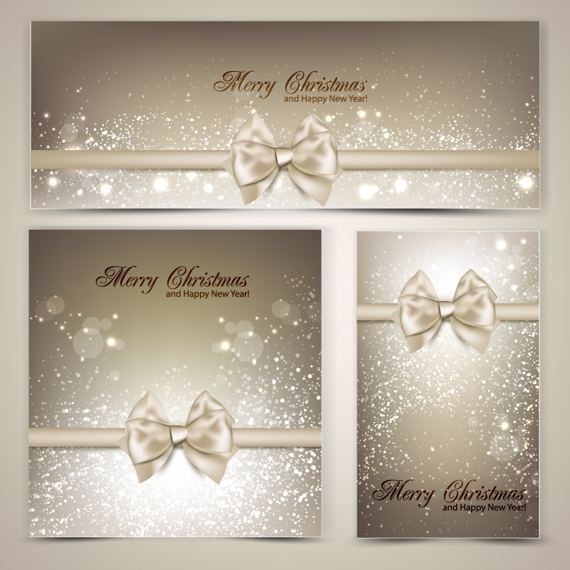 Merry Christmas Bow Frame Vector