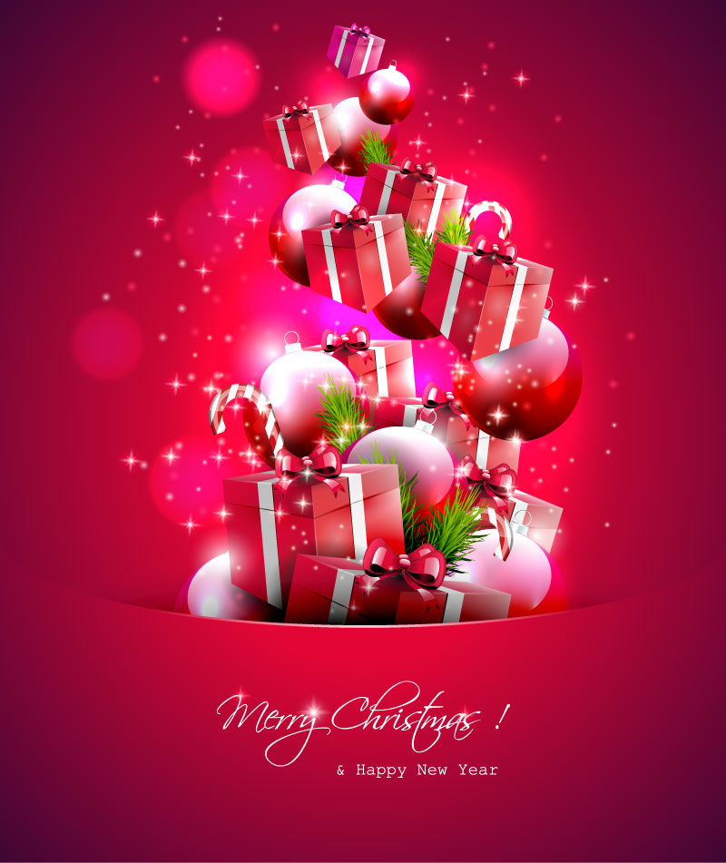 Merry Christmas Gift.Merry Christmas Gifts Collection Vector Free Vector
