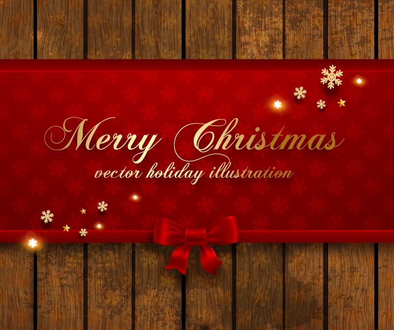 Merry Christmas Holiday Wooden Background Vector