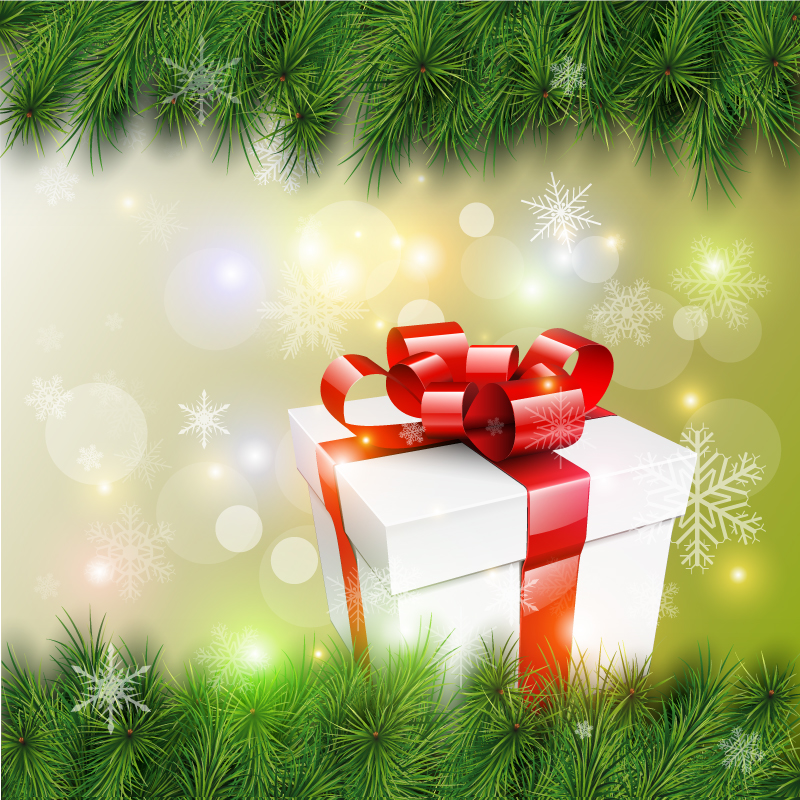 Merry Christmas Pine Gift Box Vector