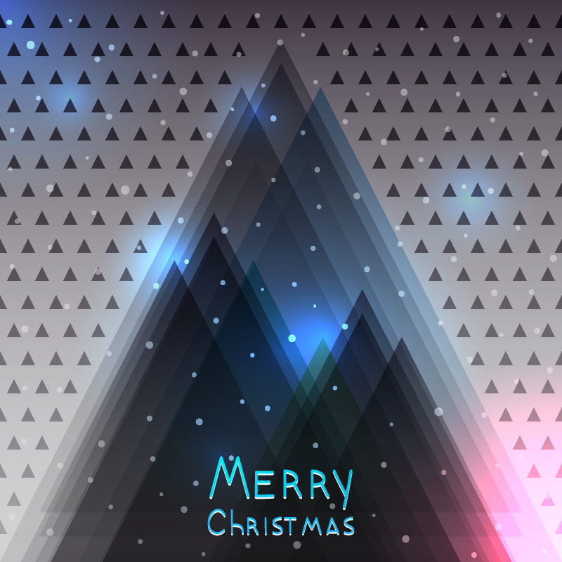 Merry Christmas Triangle Layout Vector