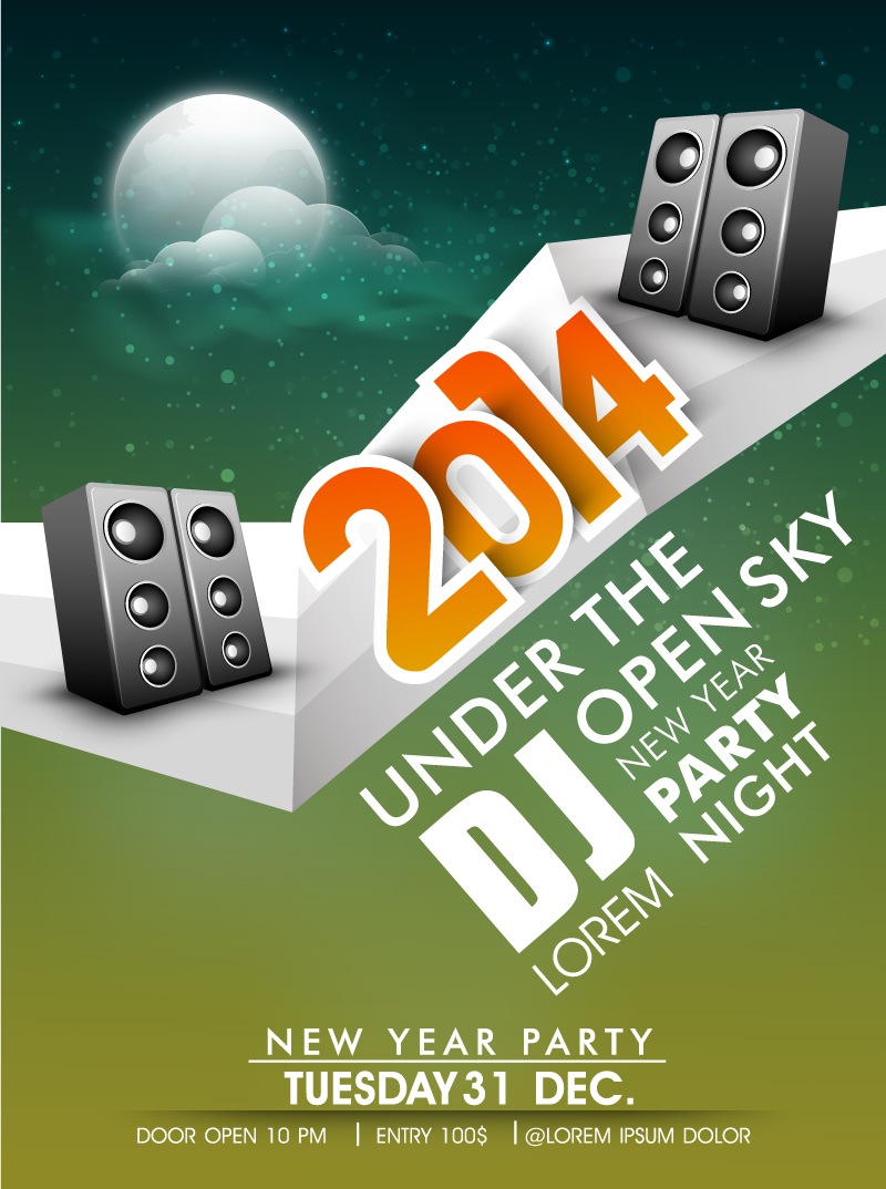 Open Sky DJ New Year Party Night Vector
