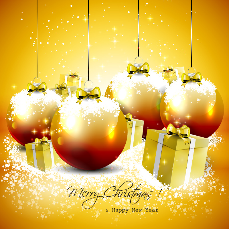 Orange Xmas Ball Gifts Vector