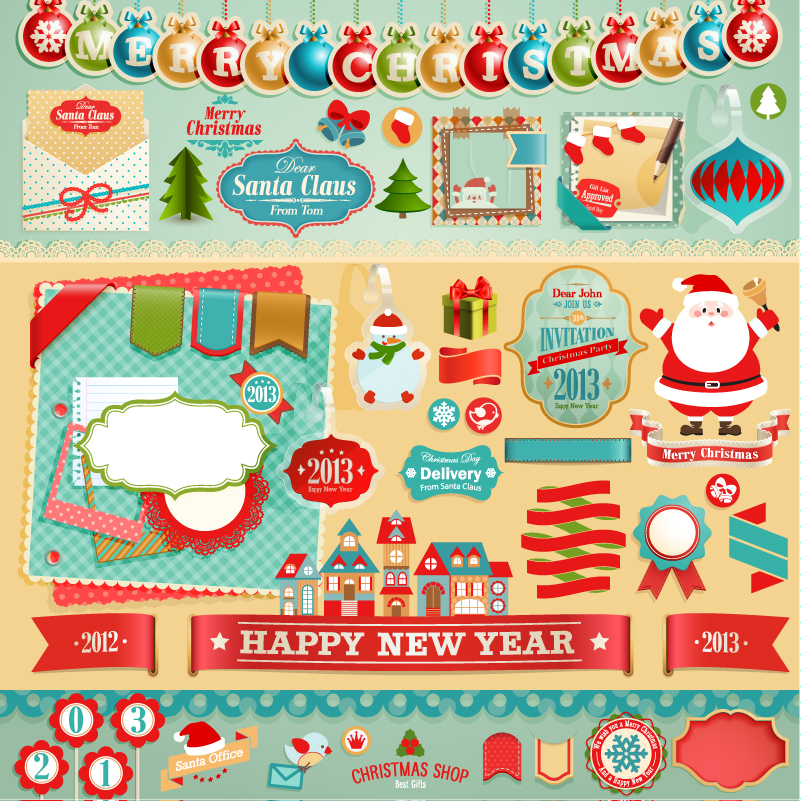 Playful Design Elements Christmas Labels Vector