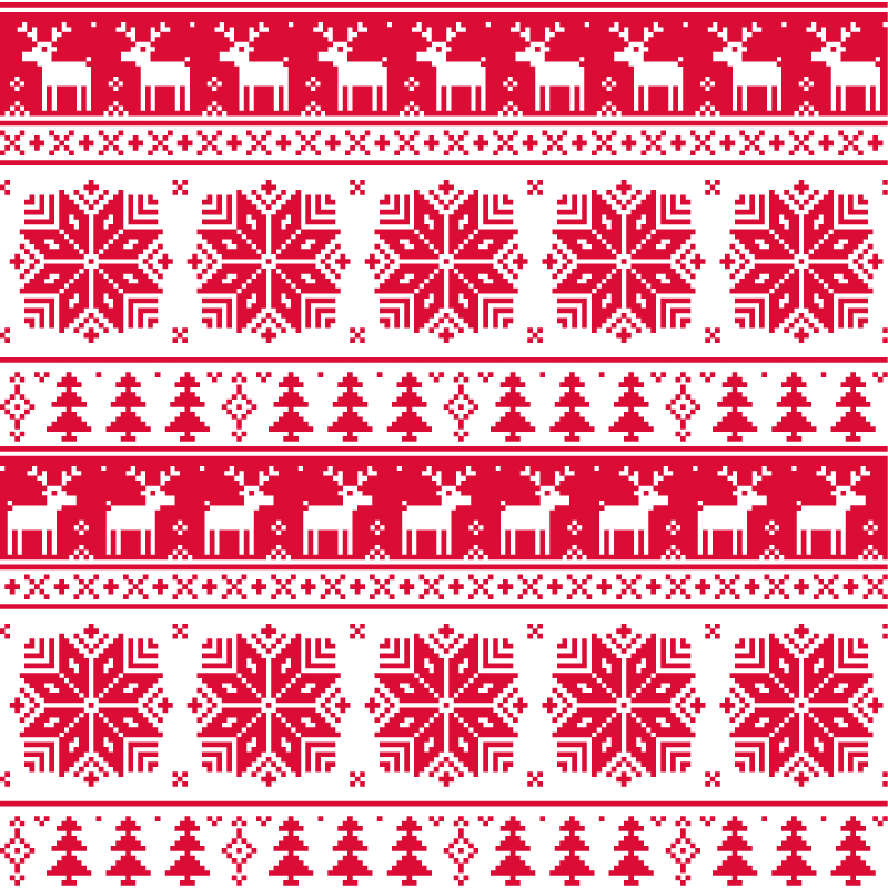 Red Christmas Knitting Pattern Background Vector Free Vector