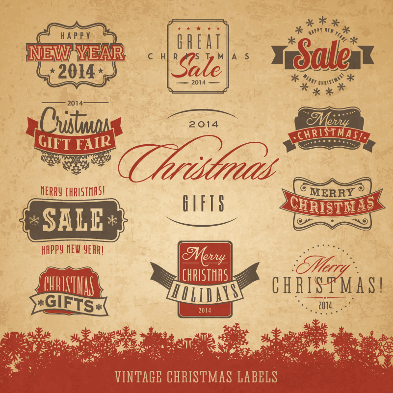 Retro Christmas Gifts Strickers Vector