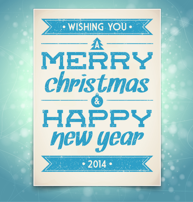 Retro Merry Christmas and Happy New Year 2014 Vector
