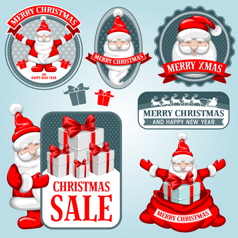 Santa Sale Tag Vector