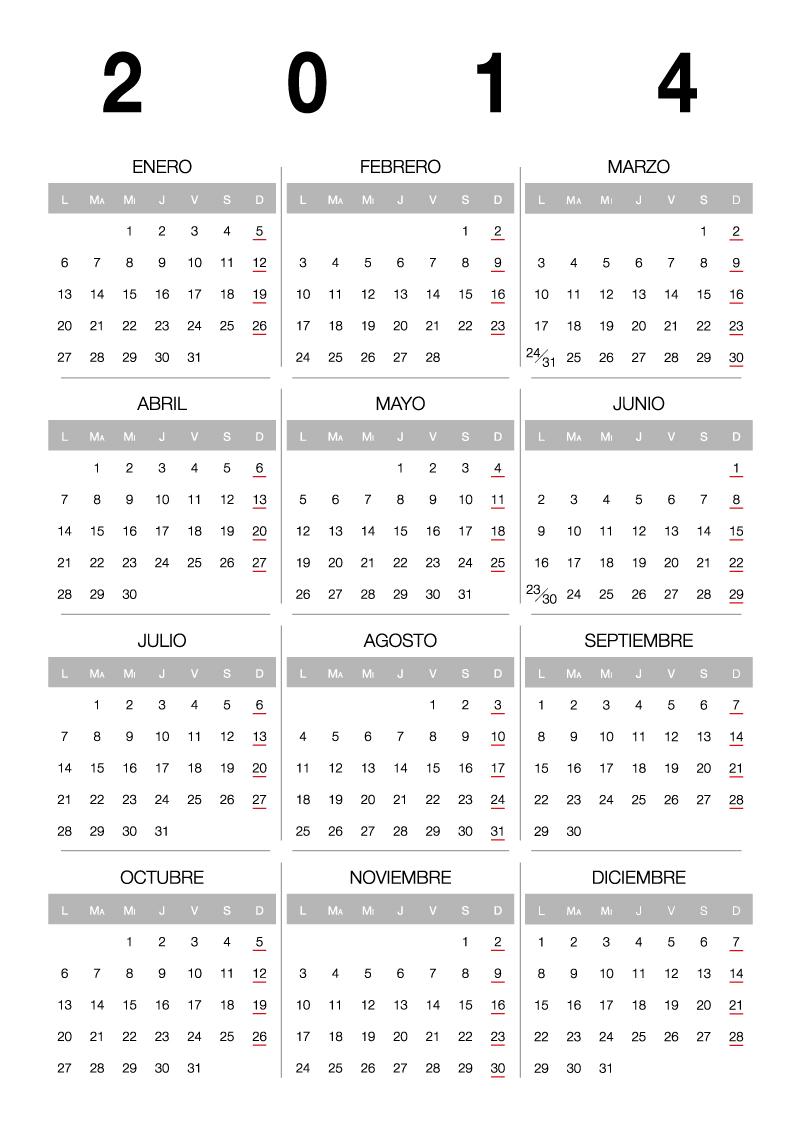 Standard Calendar 2014 Vector