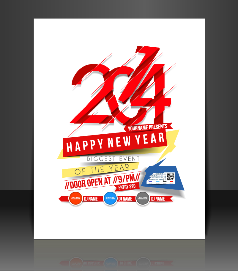 Tear 2014 Happy New Year Party Vector