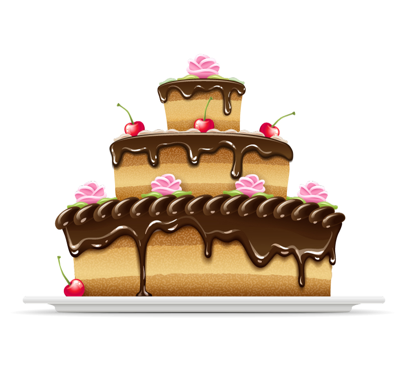 Triple Chocolate Birthday Cake Vector