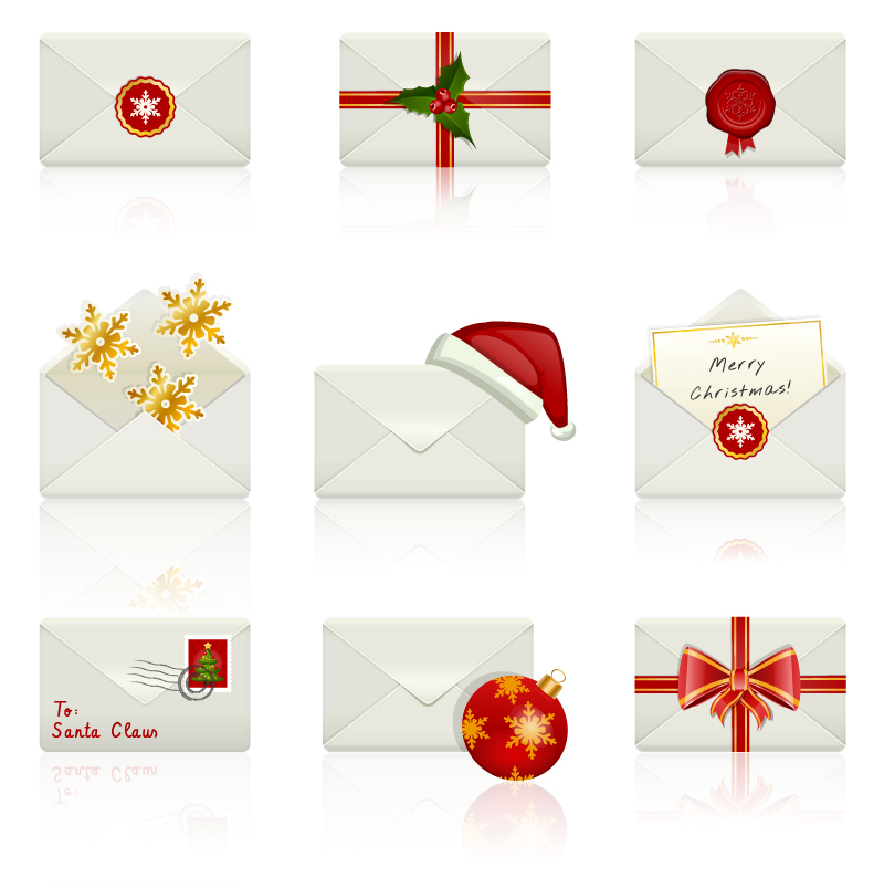 Variety of Christmas Envelope Style Vector