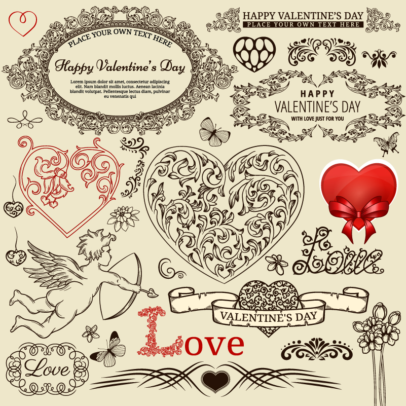 Vintage Valentine Decorative Patterns Vector
