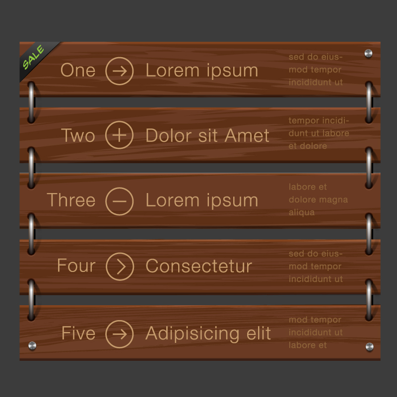 Wooden Listing Information Figure Vector