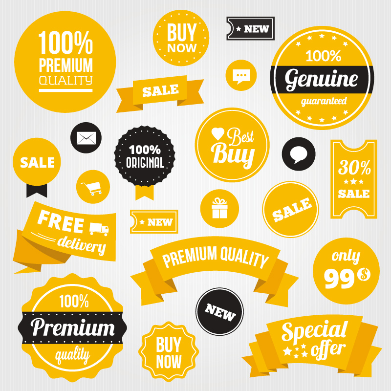 Yellow Sale Tags Vector