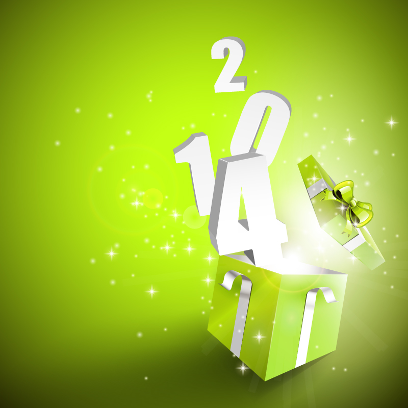 2014 New Year Gift Background Vector