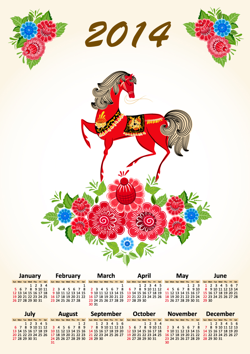 Calendar 2014 Cartoon Pattern Horse Vector