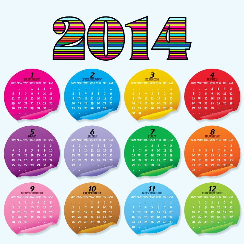 Calendar 2014 Color Stickers Vector