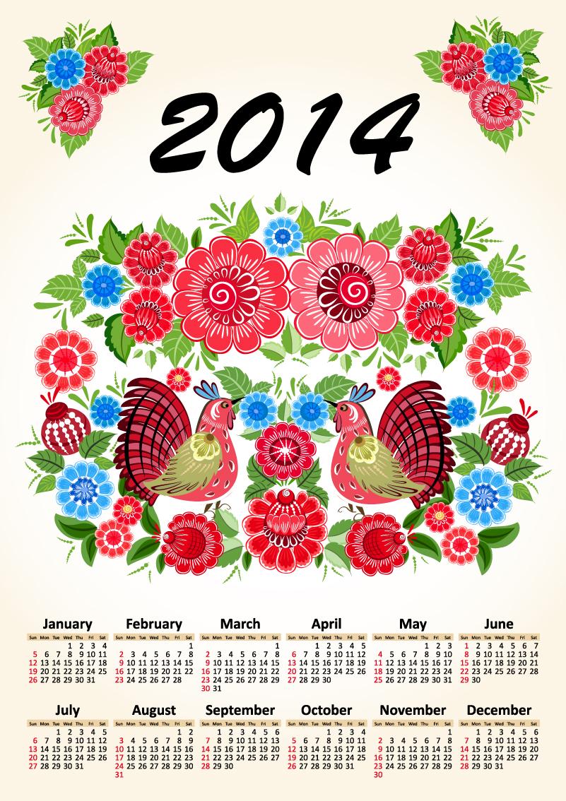 Calendar 2014 Retro Floral Cock Vector