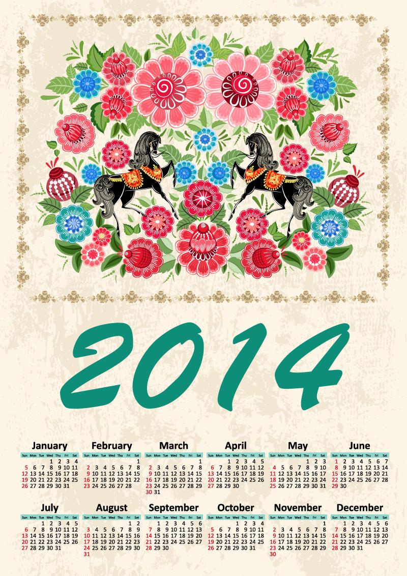 Calendar 2014 Retro Floral Horse Vector
