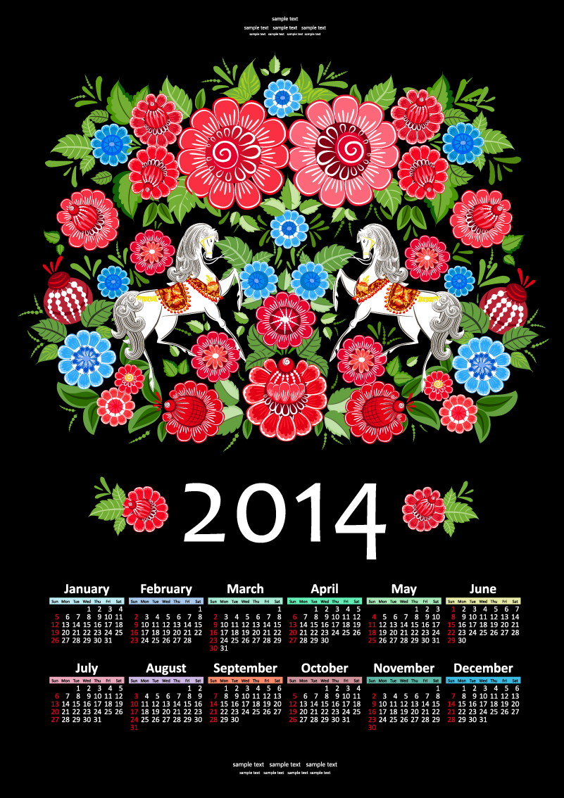 Calendar 2014 Retro Flower Horse Vector