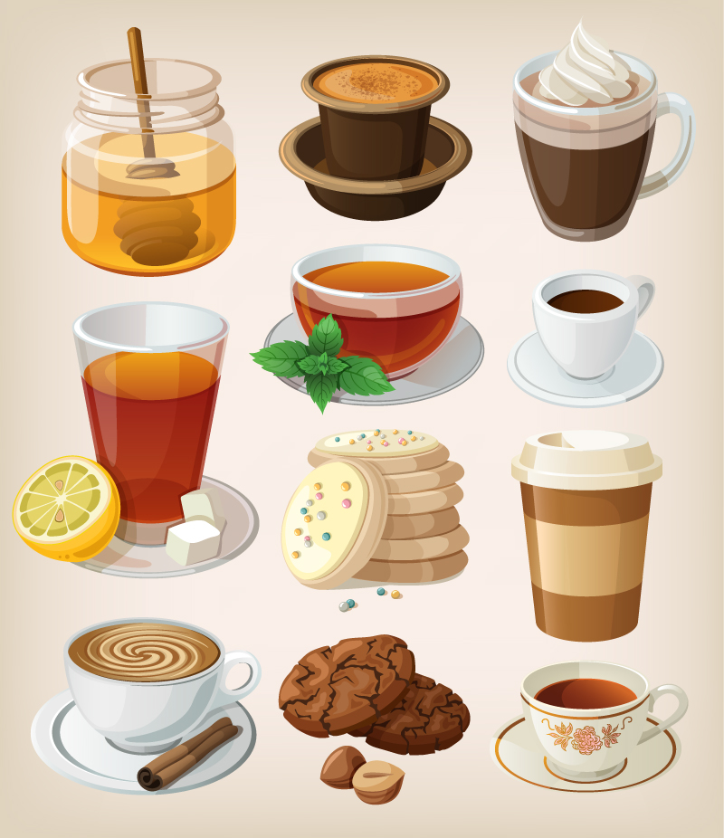 Cartoon Drinks Design Vector