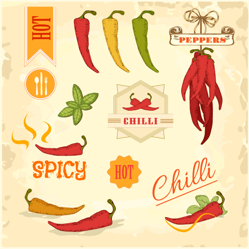 Chilli Spicy Peppers Vector