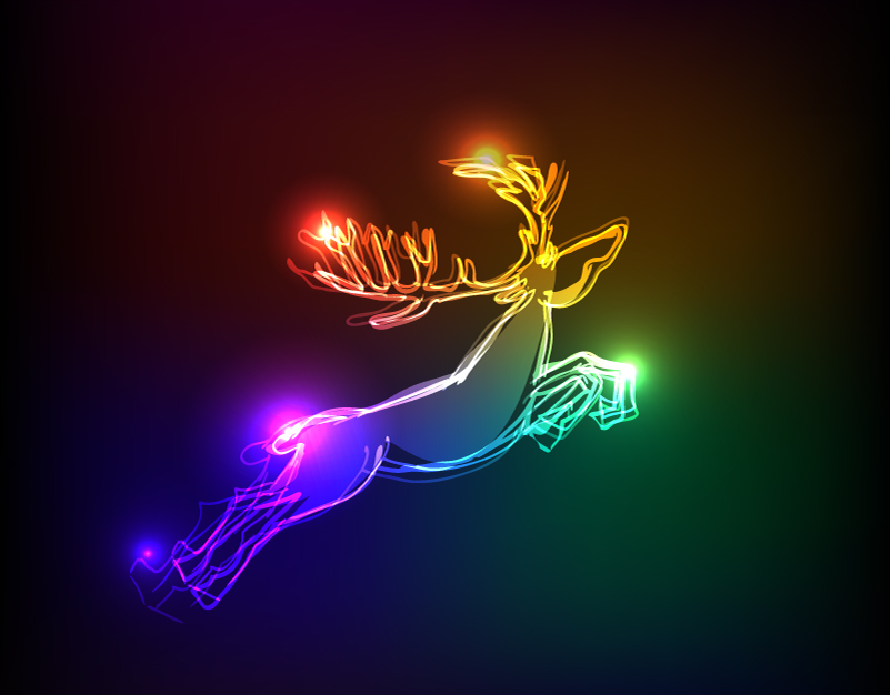 Christmas Light Effect Elk Vector