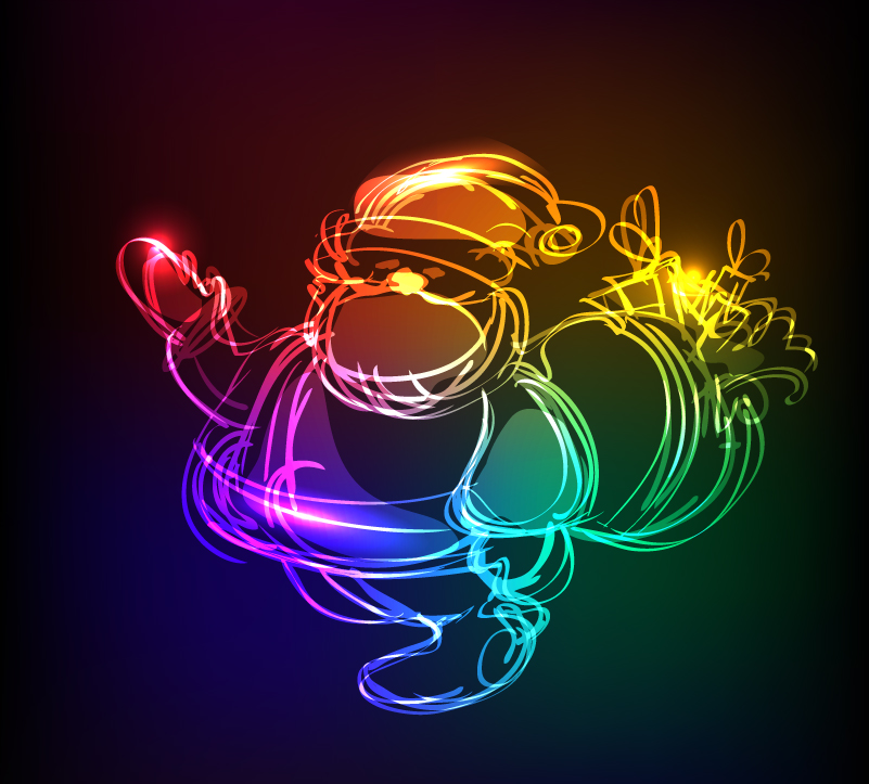 Christmas Light Effect Santa Claus Vector
