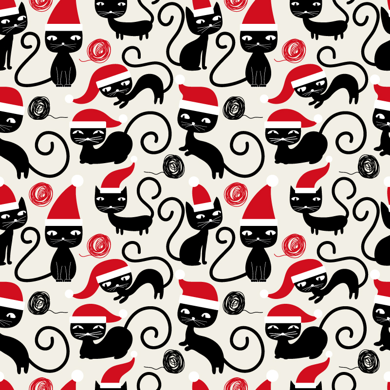 Christmas Mischievous Black Cat Vector