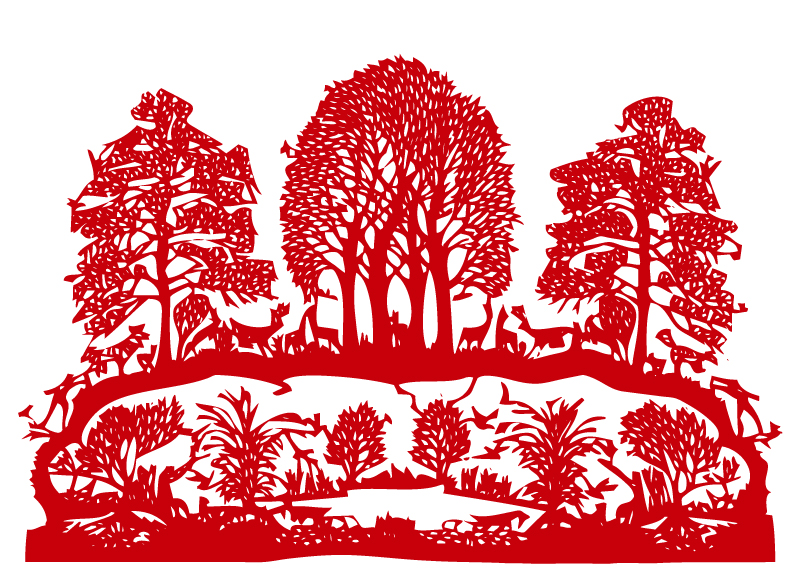 Creative Forest Paper Cutting Vector