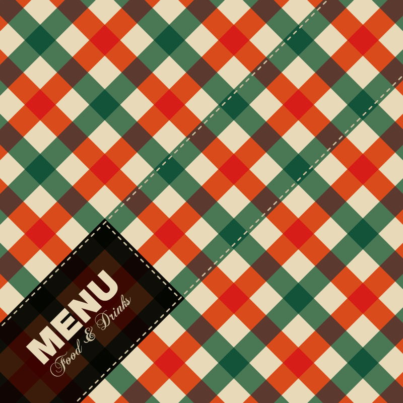 Fashion Plaid Menu Cover Design Vector