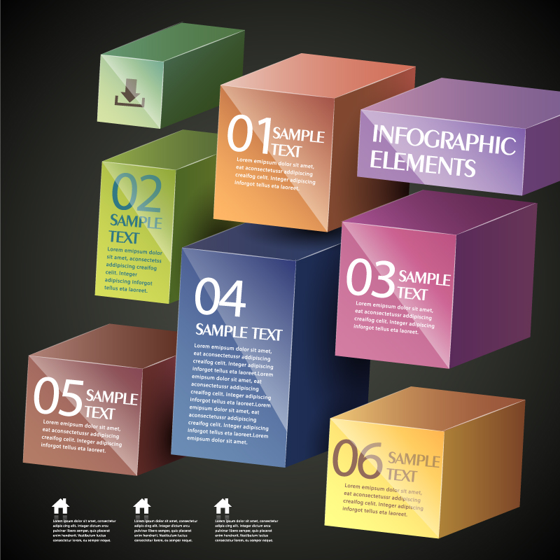 Infographic Dimensional Box Vector