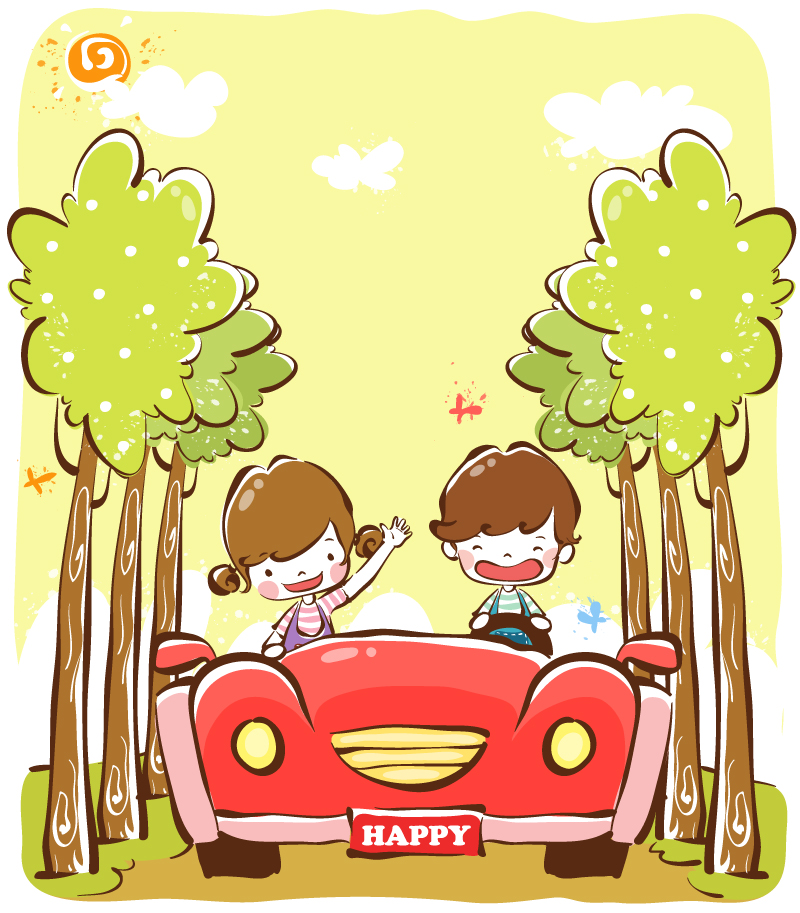 Painted Car Trees Children Vector