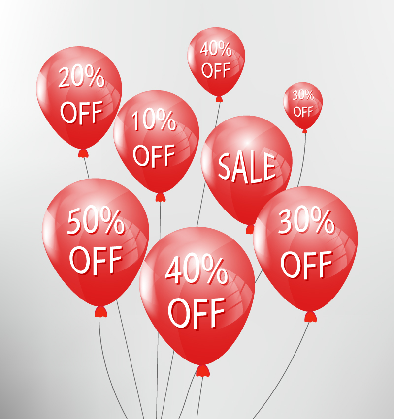 Red Discount Balloons Vector