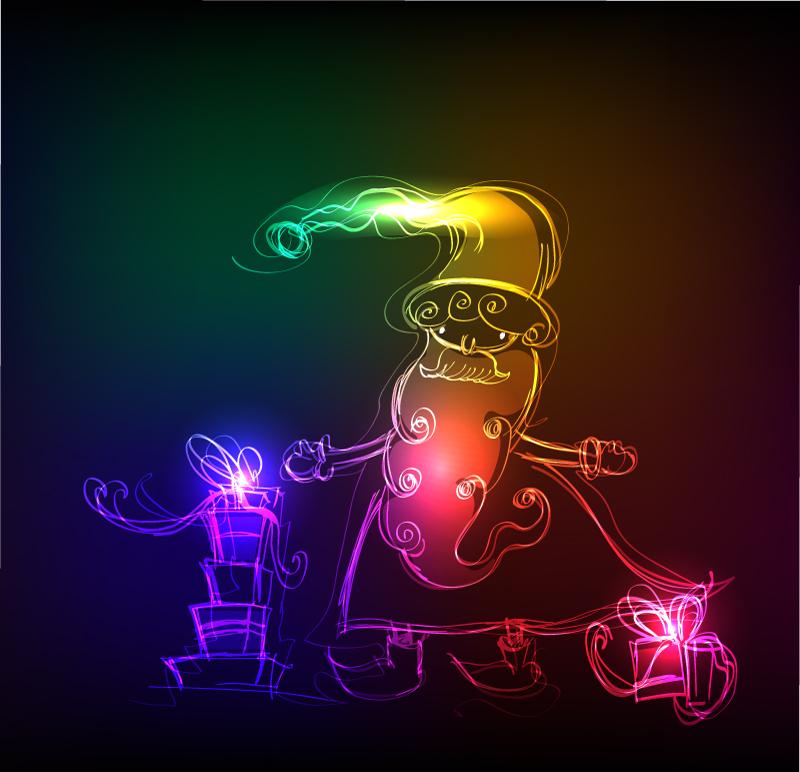 Santa Claus and Gifts Luminous Efficiency Vector