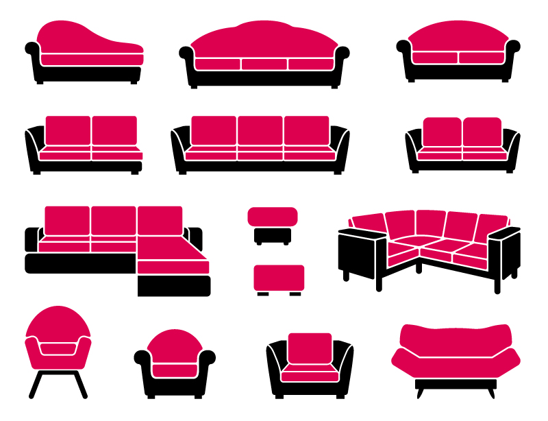 Simple Red Sofa Appearance Design Vector